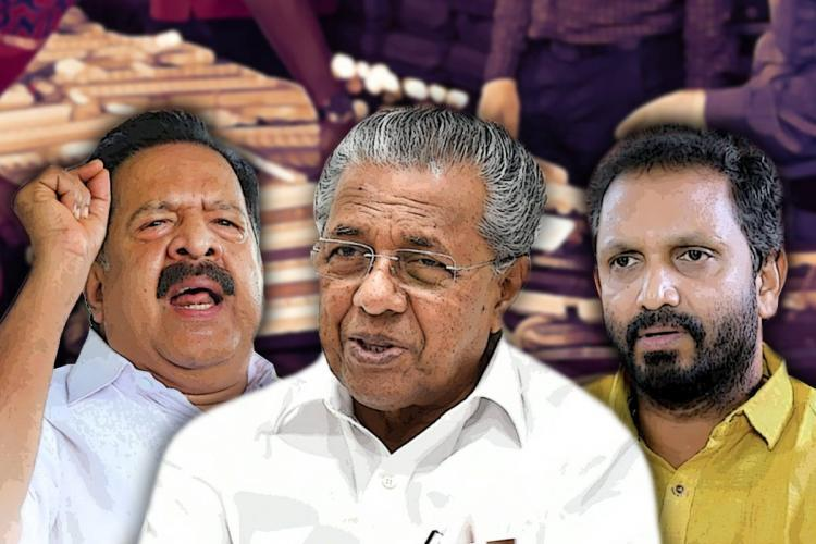 Collage of Kerala Chief Minister Pinarayi Vijayan opposition leader Ramesh Chennithala and BJP President K Surendran