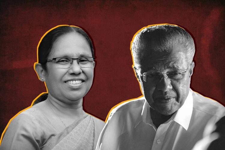 A collage of KK Shailaja and Pinarayi Vijayan