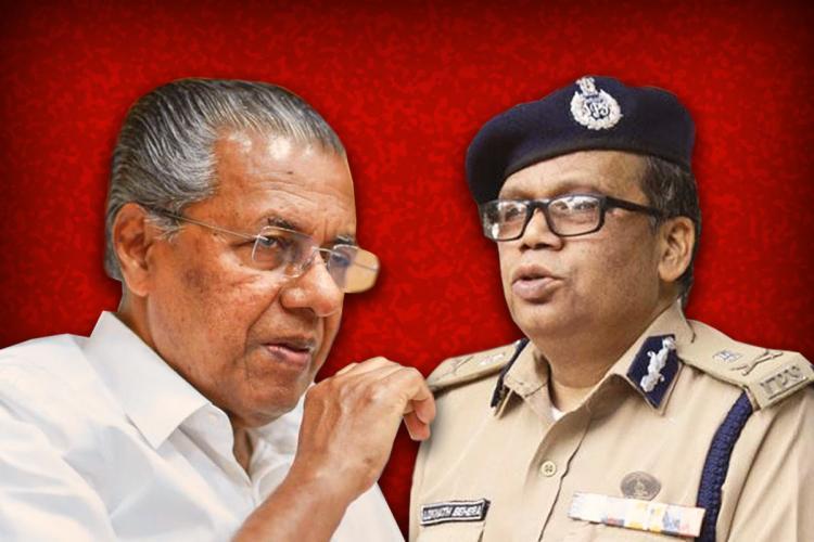 A collage of Kerala Chief Minister Pinarayi Vijayan and Kerala DGP Loknath Behera against a red background