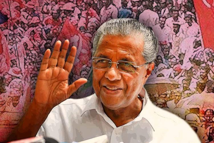 Stylised image of Kerala Chief Minister Pinarayi Vijayan smiling waving his right hand against the backdrop of people and party flag