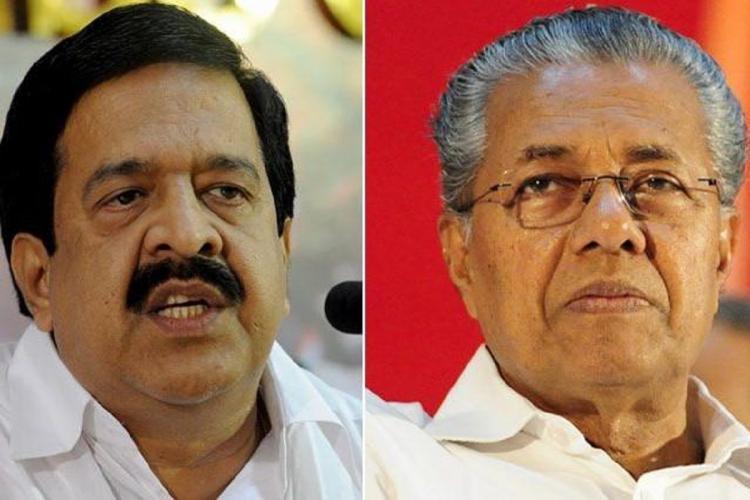 From left Ramesh Chennithala Pinarayi Vijayan