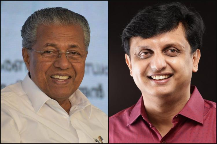 Collage of Pinarayi smiling wearing white and glasses and Riyas also smiling wearing a light maroon shirt