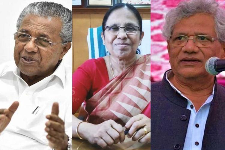 Collage of Kerala CM Pinarayi Vijayan Health Minister KK Shailaja and CPIM chief Sitaram Yechury