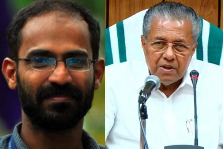 From left: Siddique Kappan, Kerala CM Pinarayi Vijayan