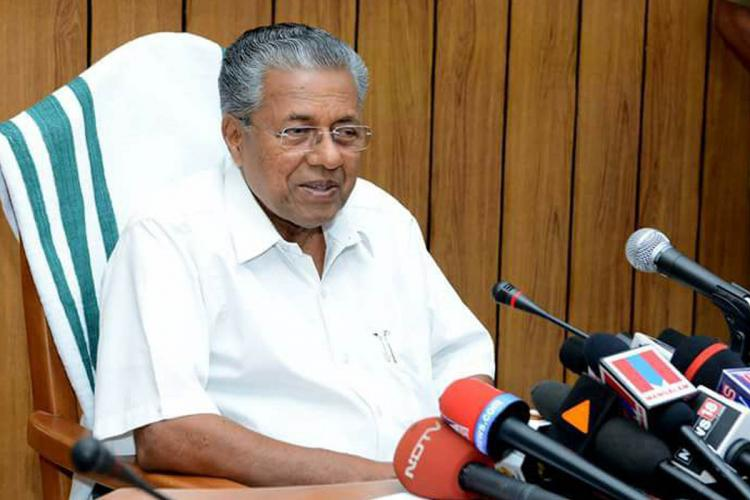 Kerala chief minister Pinarayi Vijayan addressing media