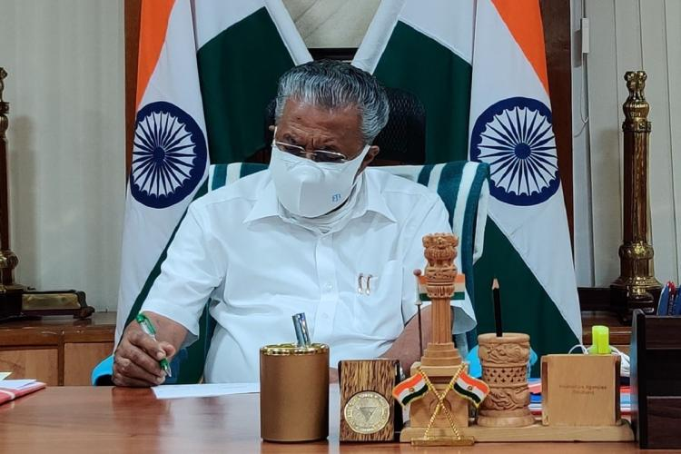 Pinarayi Vijayan at his office Facebook photo
