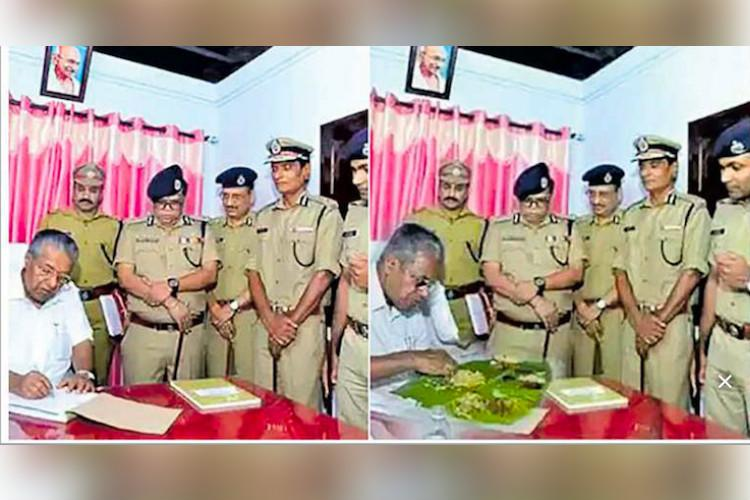 Three arrested for circulating fake photo of Kerala CM feasting at police station