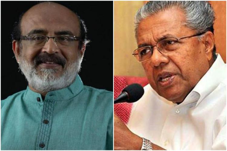 Thomas Isaac and Pinarayi Vijayan collage