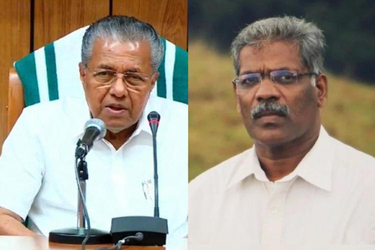 Collage of Kerala CM Pinarayi and Additional Private Secretary CM Raveendran