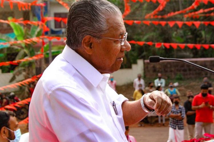 Pinarayi Vijayan speaking during election campaigning