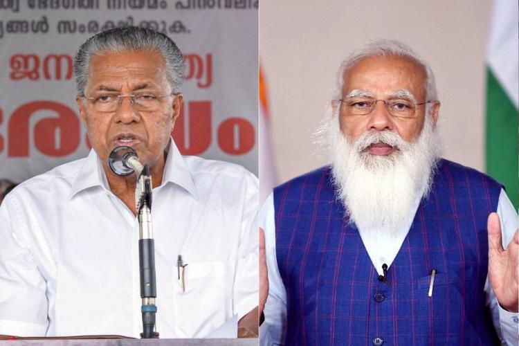 Collage of Chief Minister Pinarayi Vijayan and Prime Minister Narendra Modi