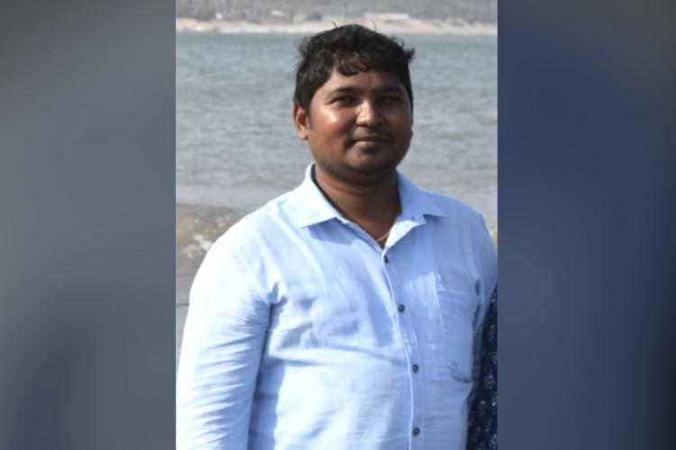 Pitta Rajesh the SBI bank manager in Vizag who succumbed to COVID-19 wearing a white shirt and smiling at the camera