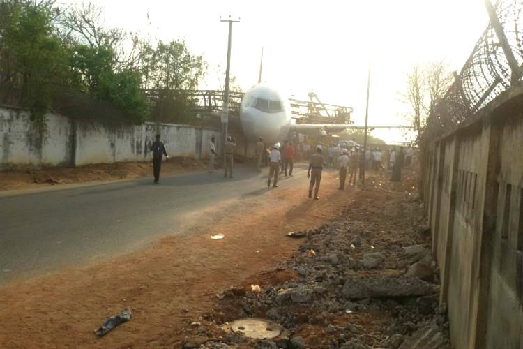 Watch AI training aircraft comes crashing down as it is shifted by crane in Hyderabad