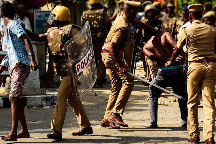 Police lathi charge during violence