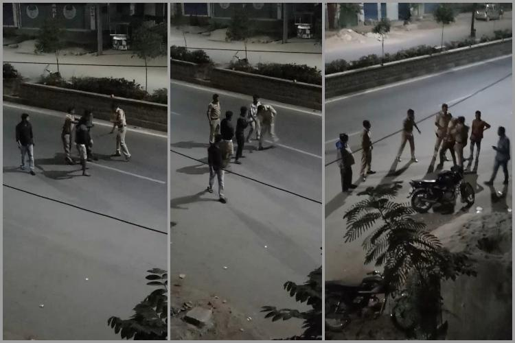 Video Telangana cops kick beat youth for allegedly creating nuisance on New Years Day