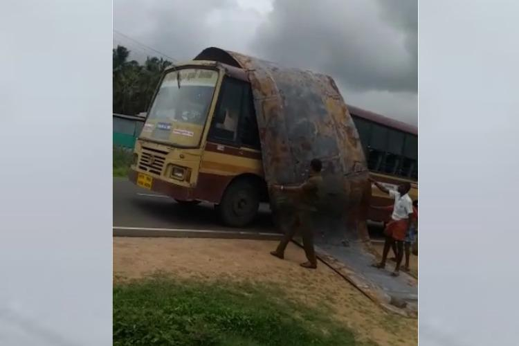 Video Roof of TN govt bus rips off while passengers on board