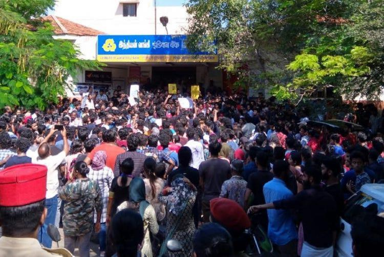 Protesting students in Pondicherry University gathered together