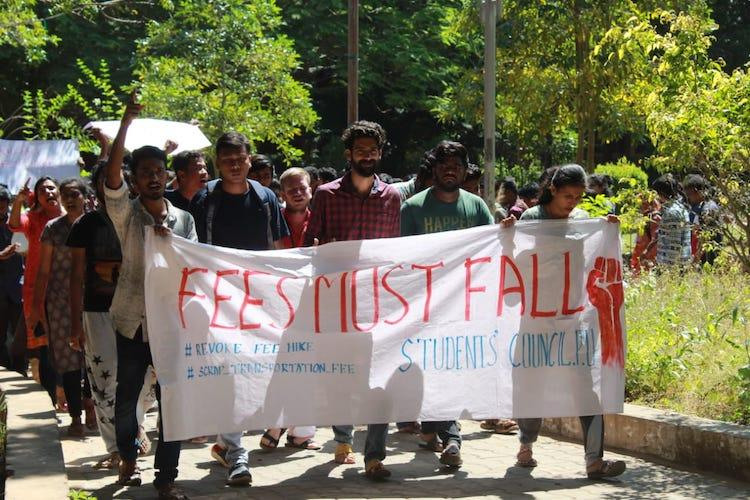 Pondicherry University students protest against fee hike demand roll-back