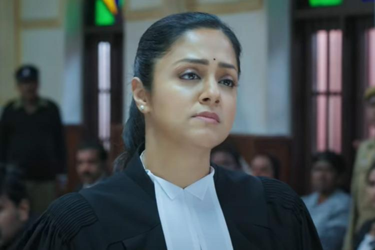 Jyotika in the courtroom as lawyer in Ponmagal Vandhal