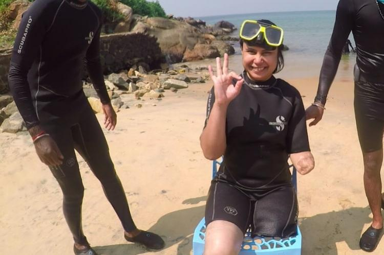 Refused elsewhere para athlete Pooja Agarwal finally gets to scuba dive in Kerala