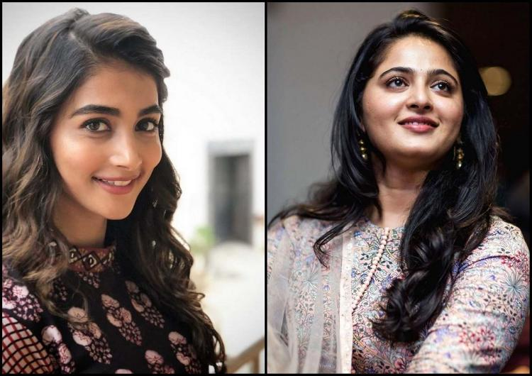 Pooja Hegde and Anushka Shetty in a collage wearing contrast coloured dresses and loose hair