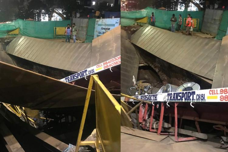 Road caves in near Chennai Central no injuries reported
