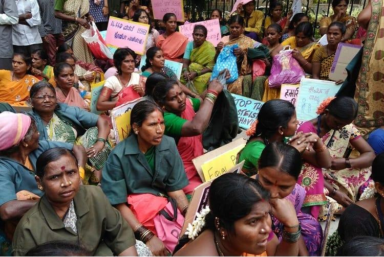 Hundreds of women sanitation workers protest in Bengaluru Mayor asks why today