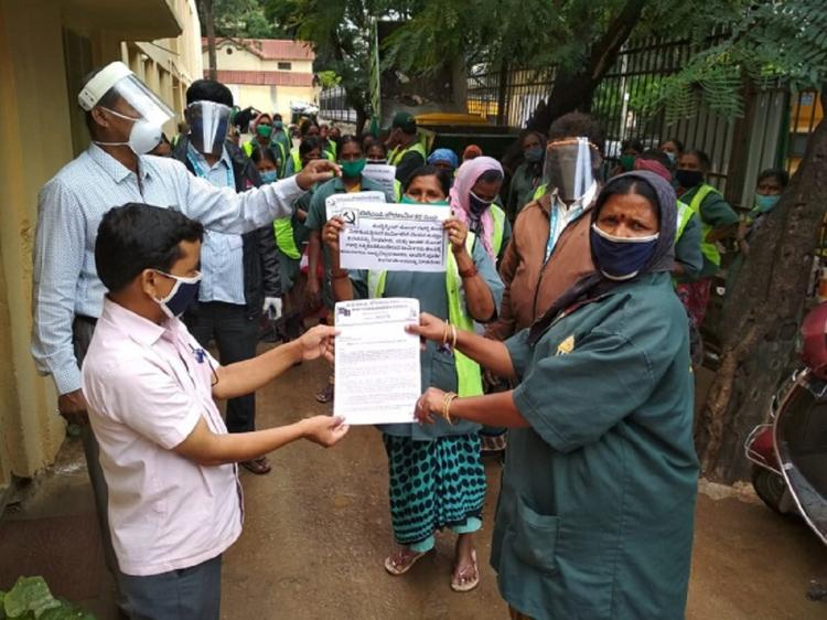 Pourakarmikas protest in Bengaluru on July 10 2020