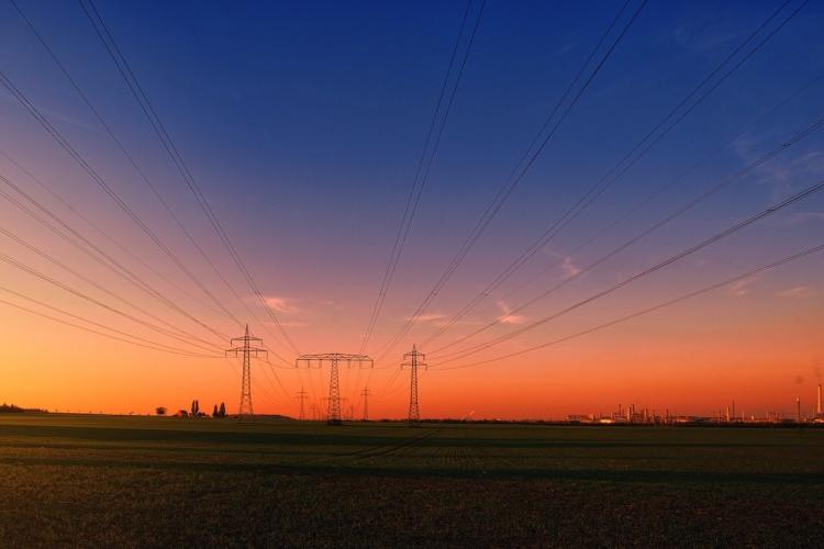 Transformer lines in a field with power towers