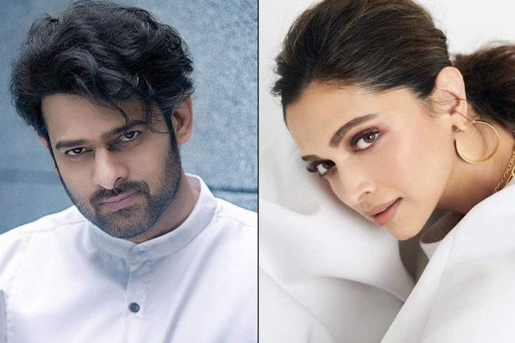 Collage of Prabhas and Deepika Padukone in white clothes looking into the camera