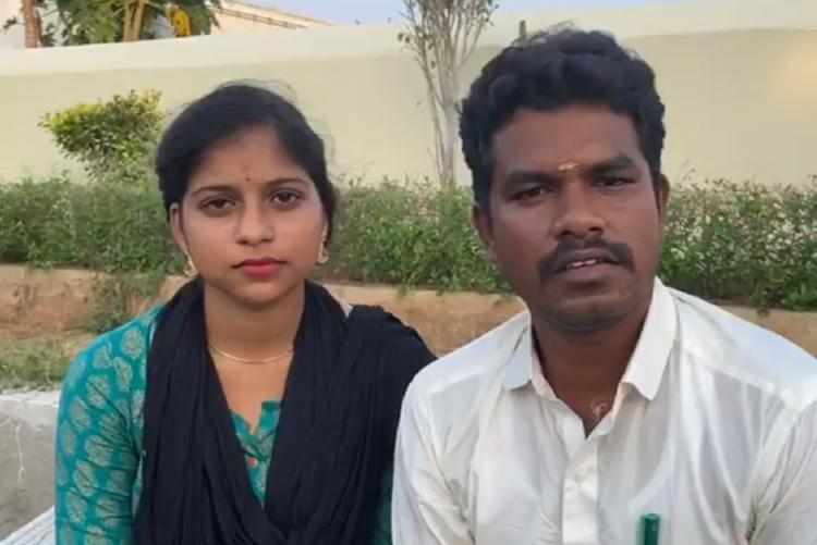 AIADMK MLA Prabhu in a white shirt with his wife Soundharya who is wearing a green salwar with a black dupatta