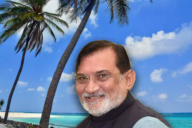 Lakshadweep administrator Praful Khoda Patel against the backdrop of a scenic place in the union territory