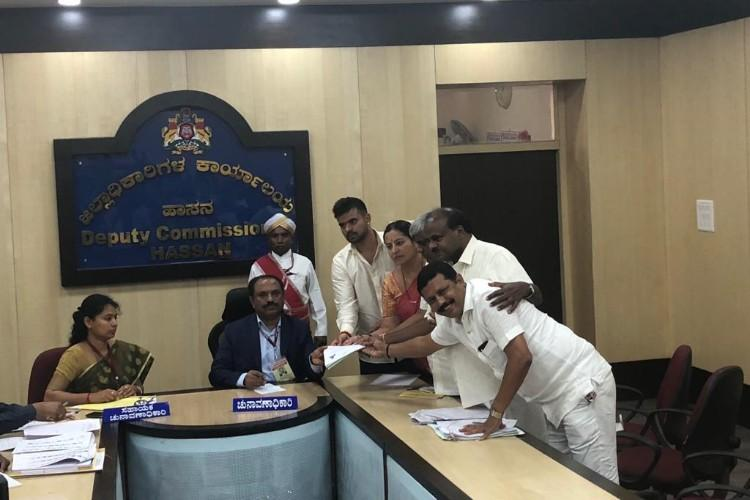 Prajwal Revanna files nomination from Hassan seat of grandfather Deve Gowda