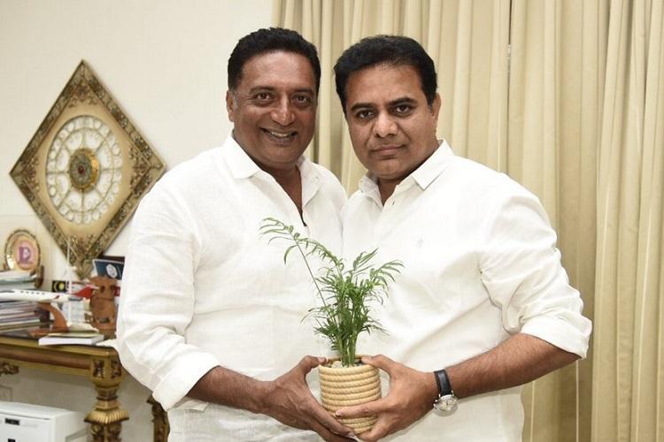 After announcing political entry actor Prakash Raj meets KTR in Hyd