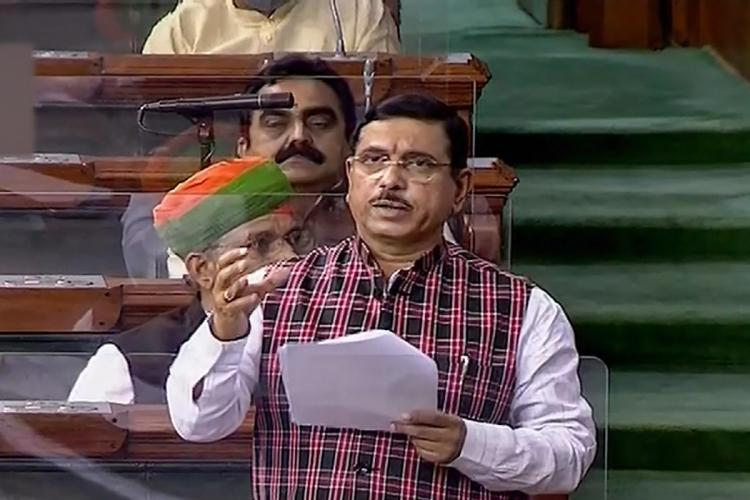 Union Minister Pralhad Joshi speaking during a parliamentary session