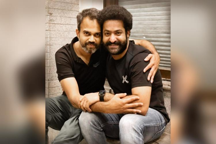 Director Prashanth Neel is seen on the left and actor Jr NTR is seen on the right side of the image