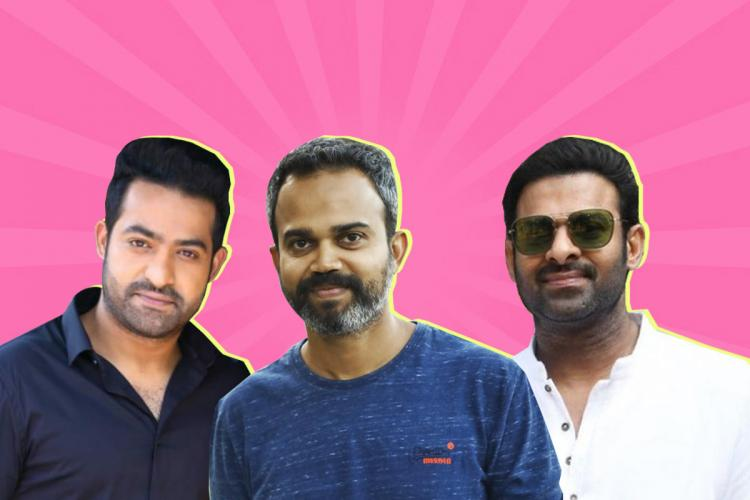 Actor Jr NTR on the left actor Prabhas on the right and director Prashanth Neel is seen in the middle