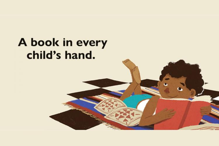 Cartoon of a young boy reading a book from Prathams facebook page