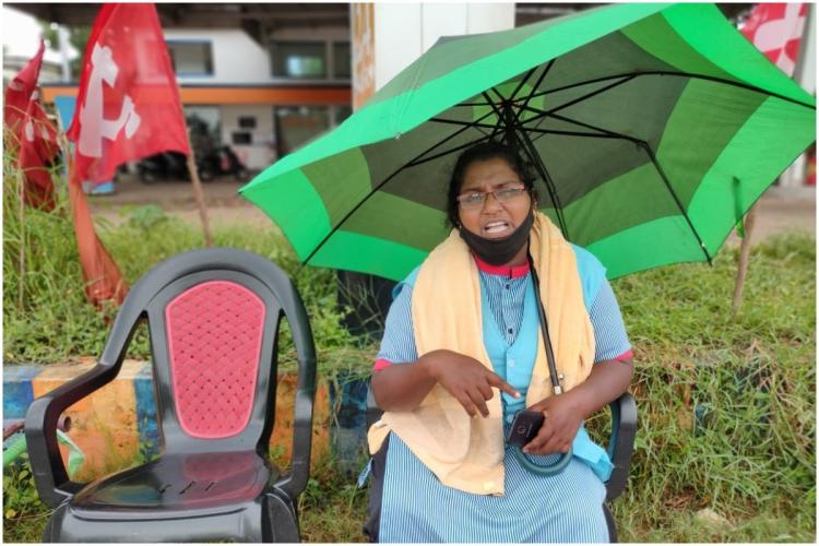 Kerala woman Preetha Babu who stages protest in Thiruvananthapuram for sacking from job.