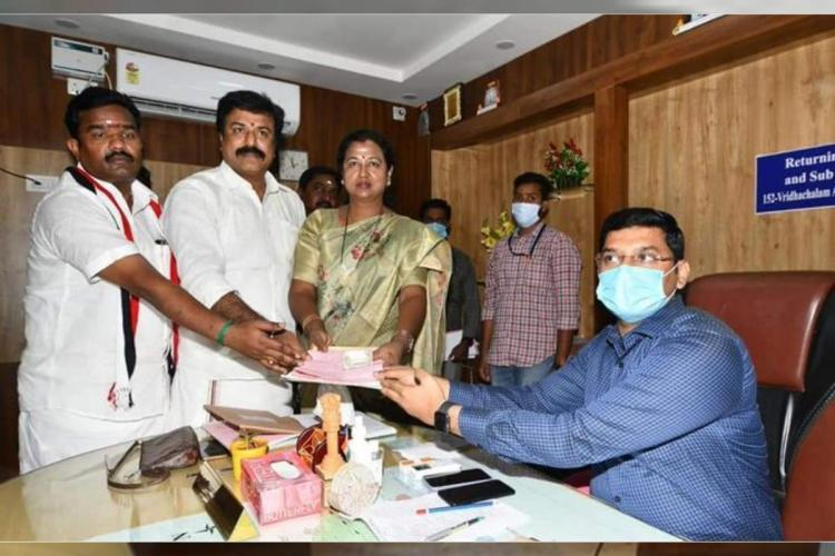 Premalatha Vijayakant filing her nomination papers with the Returning Officer in Virudhachalam