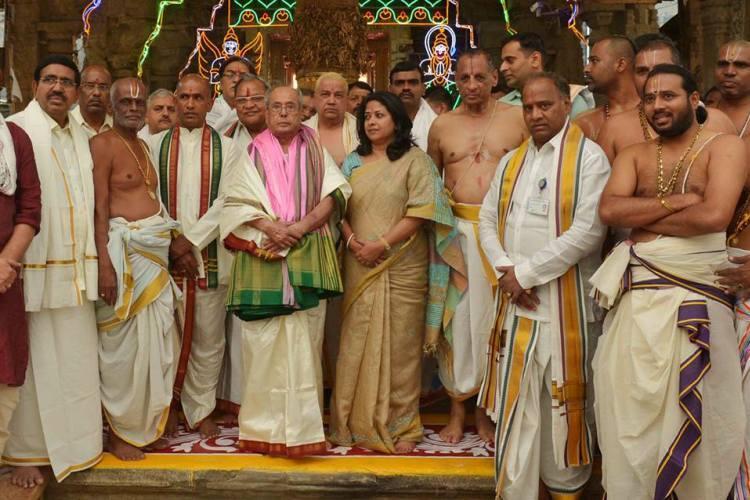 President Pranab Mukherjee offers prayers at Tirumala temple