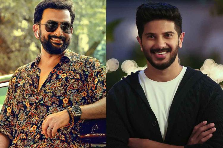 A collage of Actors Prithviraj and Dulquer Salmaan Prithviraj is standing leaning on to a car he wears a sunglass Dulquer wears a black and white shirt he looks forward smiling