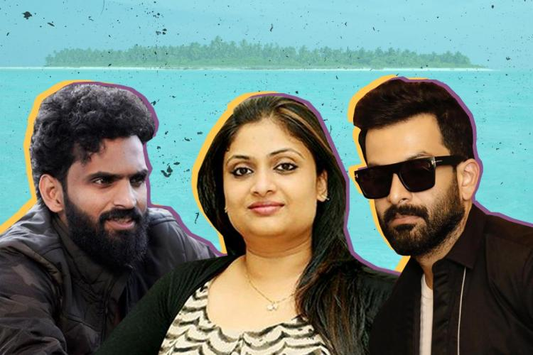 A collage with three celebs in black and the background is light blue CK Vineeth and Prithviraj with beards are on either side of Geetu Mohandas