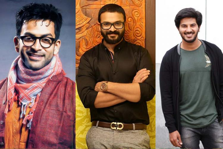 Prithviraj wearing pink shirt and glasses Jayasurya in a black shirt and DQ in a grey T shirt and black jacket