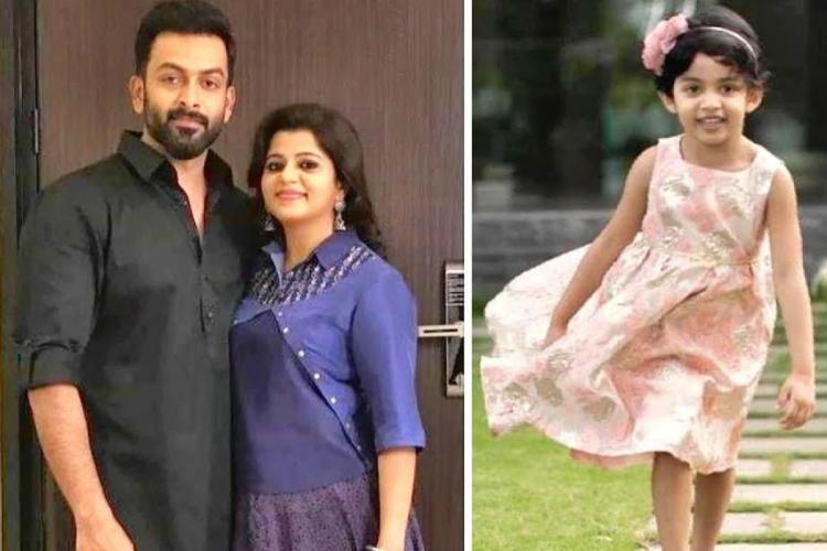 Prithviraj in black and Supriya in blue are in one photo while in the other is their child Alankrita running wearing a peach frock