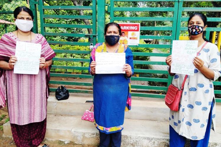 Private school teachers protest