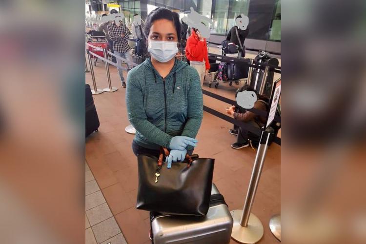 Priya Mary Jacob in Heathrow waiting to board Vande Bharat flight to Kochi