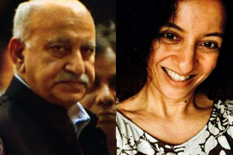 A collage of journalist Priya Ramani and BJP MP MJ Akbar