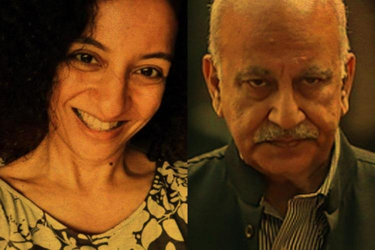 A collage of journalist Priya Ramani and former Union Minister and BJP MP MJ Akbar