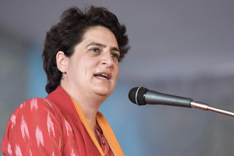 Congress leader Priyanka Gandhi speaking during an election campaign rally for the Kerala assembly polls, in Thrissur district.
